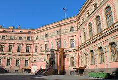 The courtyard of the Mikhailovsky Engineers Castle. St. Petersburg. royalty free stock image