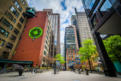Courtyard and modern buildings in downtown Toronto, Ontario. Stock Photo
