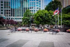 Courtyard and modern buildings in Uptown Charlotte, North Caroli Royalty Free Stock Photography