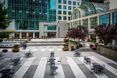 Courtyard and modern buildings in Uptown Charlotte, North Caroli Royalty Free Stock Photo