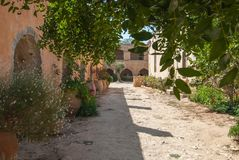 Courtyard and cloister in monastery Arkadi stock photos