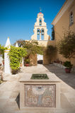 Courtyard of monastery in Paleokastritsa, Corfu, Greece Royalty Free Stock Image