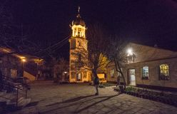 Courtyard of the monastery of St. George in Pomorie, Bulgaria on Easter night Stock Photography