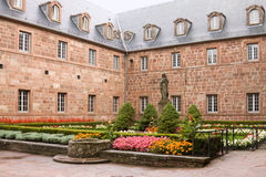 Courtyard in Mont Sainte-Odile Abbey in France Royalty Free Stock Images