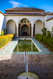 Courtyard at Moorish castle in Malaga Spain Stock Photos