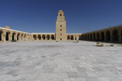 Courtyard of the Mosque of Kairouan. The Great Mosque of Kairouan, also known as the Mosque of Uqba, is one of the most important mosques in Tunisia, situated in Royalty Free Stock Photos