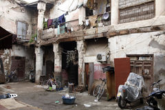 The courtyard. Motorbikes and bicycles in the courtyard of a house in Morocco Stock Images