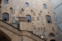 Courtyard in the Museo Nazionale del Bargello. Florence. Italy. Italy, Florence - October 02 2016: view of the inner courtyard wall in the Museo Nazionale del Royalty Free Stock Photography