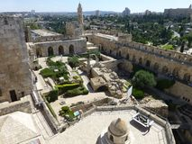 In the courtyard of the Museum of the History of Jerusalem stock photos