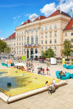 Courtyard of the MuseumsQuartier Wien. Vienna, Austria - August 14, 2016: Courtyard of the MuseumsQuartier Wien. With about 70 cultural facilities, it is one of Royalty Free Stock Photo