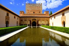 Courtyard of the Myrtles, Alhambra, Granada, Spain Royalty Free Stock Photos