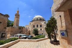 Courtyard near Hurva Synagogue, Jerusalem. The side façade and the courtyard of the Hurva Synagogue, also known as Hurvat Rabbi Yehudah he-Hasid, in the royalty free stock image