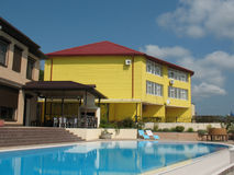 Courtyard Of A Resort Hotel With Swimming Pool Royalty Free Stock Image