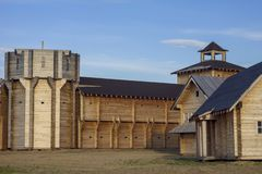 Courtyard Of An Ancient Reconstructed Wooden Fortress With High Walls And A Bell Tower Royalty Free Stock Images