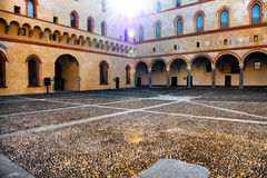 Courtyard of the old castle in old town of Milan, Italy Stock Image