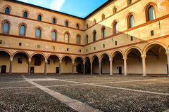 Courtyard of the old castle in old town of Milan, Italy Royalty Free Stock Image