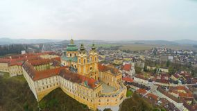 Courtyard of old catholic abbey, beautiful baroque style building, aerial view. Stock footage stock video