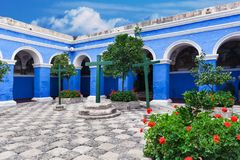 Courtyard of the old convent. Peru, Arequipa stock photo