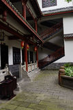 Courtyard of old-fashioned Chinese building with staircase. The courtyard of an old-fashioned Chinese building with a staircase,Chengdu,China Stock Photography