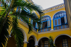 Courtyard in old havana royalty free stock photo