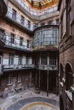 Courtyard of the old historical Building in Budapest city, Hungary. Centenary houses stock photography