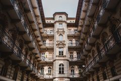 Courtyard of the old historical Building in Budapest city, Hungary. Centenary houses royalty free stock images