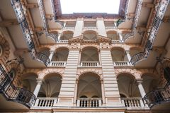 Courtyard of the old historical Building in Budapest city, Hungary. Centenary houses royalty free stock image