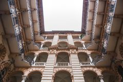 Courtyard of the old historical Building in Budapest city, Hungary. Centenary houses stock photo