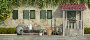 Old facade with gardening tools. Courtyard of an old house with gardening tools - 3d rendering royalty free illustration