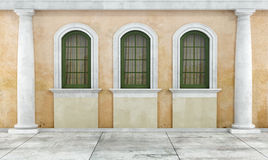 Courtyard of an old house stock illustration