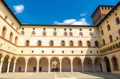 Old medieval Sforza Castle Castello Sforzesco and tower, Milan, Italy royalty free stock photography