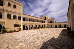 Courtyard of the Orthodox monastery near Limassol, Cyprus Royalty Free Stock Photography