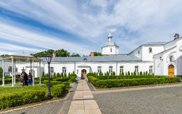The courtyard of the Orthodox Valaam Transfiguration Monastery. Royalty Free Stock Images
