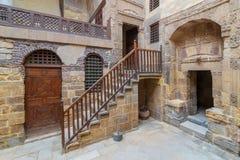 Courtyard of ottoman historic Beit El Set Waseela building, near to Al-Azhar Mosque in Darb Al-Ahmar district, Old Cairo, Egypt royalty free stock photos