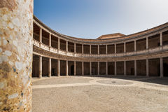 Courtyard at the Palace of Charles V Stock Images