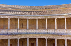 Courtyard of the Palace of Charles V in Granada Stock Photos