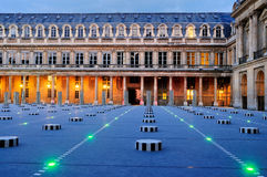 Courtyard of Palais Royale in the Evening. The Courtyard of the Royal Palace (Palais Royale) in Paris, France, by night Stock Photo