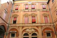 In the courtyard of the Palazzo Comunale in Bologna Royalty Free Stock Photos