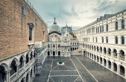 Courtyard of Palazzo Ducale in Venice, Italy. Courtyard of Doge`s Palace, or Palazzo Ducale, in Venice, Italy.  Doge`s Palace is one of the main tourist Stock Photography