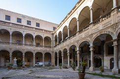 Courtyard of Palazzo Reale in Palermo, italy. Courtyard of famous Palazzo Reale in Palermo, Sicily island, Italy Stock Images