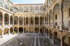 Courtyard of Palazzo Reale in Palermo, italy. Courtyard of famous Palazzo Reale in Palermo, Sicily island, Italy Royalty Free Stock Photo