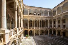 Courtyard of Palazzo Reale in Palermo, italy. Courtyard of famous Palazzo Reale in Palermo, Sicily island, Italy Stock Image