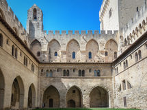 Courtyard of the Papal palace in Avignon. Avignon, France, September 9, 2016: Courtyard of the Papal palace in Avignon royalty free stock photo
