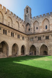 Courtyard of the Papal palace in Avignon. Avignon, France, September 9, 2016: Courtyard of the Papal palace in Avignon royalty free stock image