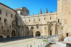 Courtyard of the Papal palace in Avignon. Avignon, France, September 9, 2016: Courtyard of the Papal palace in Avignon royalty free stock photography