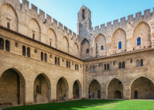 Courtyard of the Papal palace in Avignon. Avignon, France, September 9, 2016: Courtyard of the Papal palace in Avignon royalty free stock photos