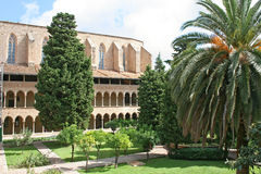 Courtyard of Pedralbes abbey. Barcelona, Spain Royalty Free Stock Photos