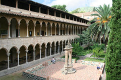 Courtyard of Pedralbes abbey. Barcelona, Spain Royalty Free Stock Image