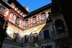 Courtyard of Peles Castle royalty free stock photography