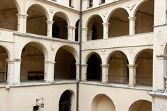 Courtyard of PIeskowa Skala Palace Stock Photography